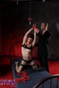 bound kinky shemale in bdsm sex action